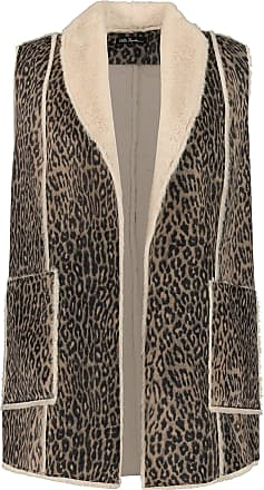 Ulla Popken Womens Plus Size Animal Print Suede Look Faux Fur Vest Multi 20/22 723547 90-46+