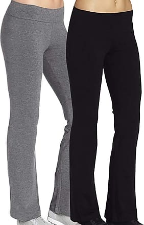 iLoveSIA Womens Bootleg Workout Pants 2Pack Size L 28.5inch Inseam Black+Grey