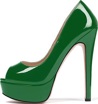 EDEFS Womens Peep Toe 15CM Stilettos Platform Pumps Dress Party Slip On Sandals Green EU45