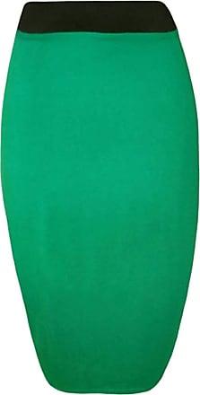 21Fashion Womens Fancy Plain Stretch Pencil Midi Skirt Ladies Elasticated Waistband Bodycon Office Midi Skirt Jade Green UK 16-18