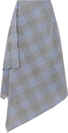 Roland Mouret Asymmetric Checked Wool And Mohair-blend Skirt - Navy