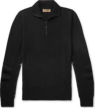 Burberry Slim-fit Check-trimmed Merino Wool Half-zip Sweater - Black