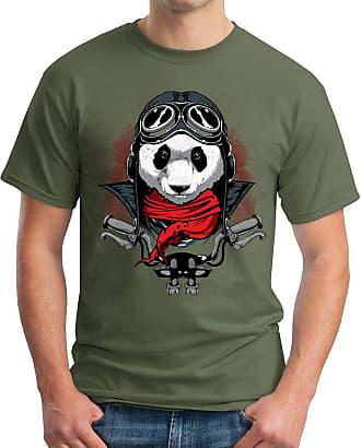 OM3 Panda-Rider - T-Shirt Biker Rocker MC Bear Motor Club 1% er Fast Furious Geek, XXL, Olive