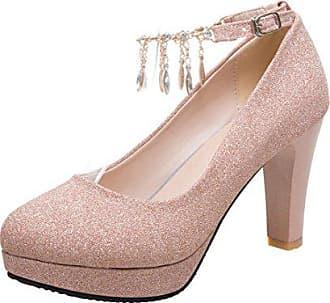 0d678246205945 Aiyoumei Damen Glitzer Pumps mit Knöchelriemchen Plateau High Heels Damen  Schuhe für Hochzeit