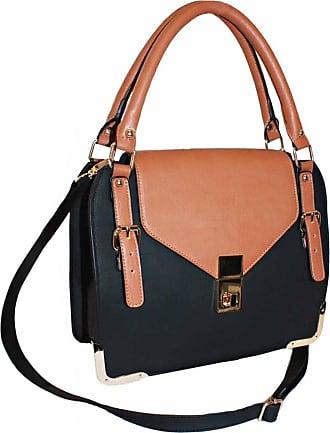 Eyecatch EyeCatch - Womens Faux Leather Messenger Bags Ladies Satchel Handbag Tan Black