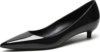 EDEFS Womens Low Heel Court Shoes Pointed Toe Comfort Ladies Classic Dress Pumps EU43/UK9.5 Black