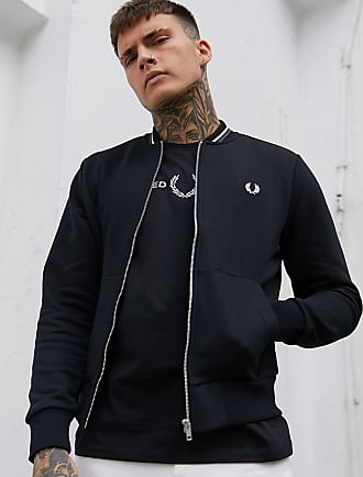 Fred Perry zip through bomber sweat in black