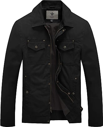 WenVen Mens Casual Cotton Military Jacket with Multi Pockets Black Large