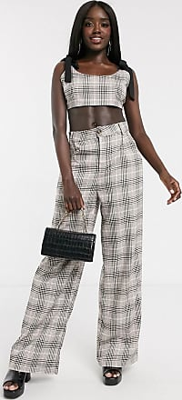 In The Style x Fashion Influx wide leg tailored trouser co ord in check-Multi