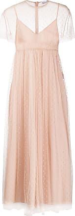 Red Valentino Vestido longo com recorte de tule - Neutro