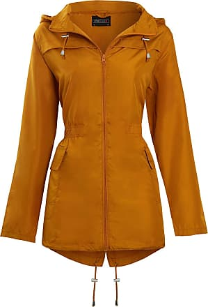 Shelikes Womens Hooded Mac Light Showerproof Rain Jacket Mustard_22