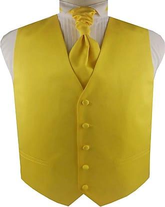 Generic Mens Solid Plain Suit Wedding Waistcoat&Cravat and Pocket Square (Yellow, m)
