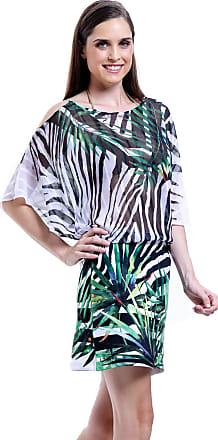 38c0a1bf5 101 Resort Wear Vestido 101 Resort Wear Morcego Saia Neoprene Estampa Zebra  Folhas Preto Branco