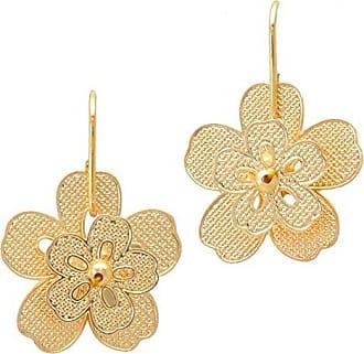 Tinna Jewelry Brinco Dourado Flor 3D