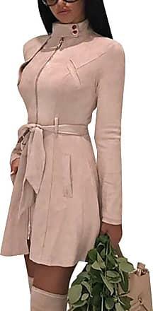 TOMWELL Women Winter Warm Faux Suede Jacket with Pockets Zipper Open Front Coat Outwear Pink UK 12