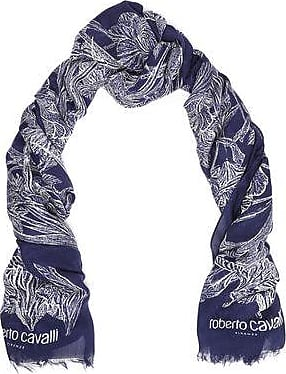 Roberto Cavalli Roberto Cavalli Woman Frayed Floral-print Modal And Cashmere-blend Scarf Navy Size