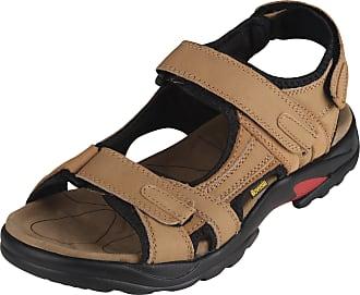 iLoveSIA Mens Athletic and Outdoor Leather Sandals Khaki UK Size 10.5 (EU 46)