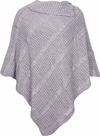 Purple Hanger Womens New Poncho Button Ladies Long Knitted Folded Roll Neck Button Cape Shawl Wrap Shrug Jumper Top Plus Size Light Grey Size 16 - 18