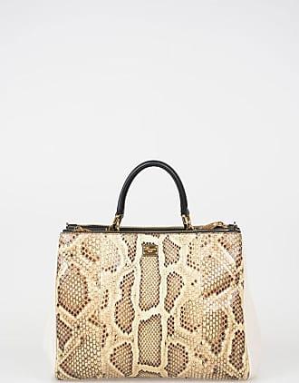 Dolce & Gabbana Leather Shoulder Bag with Python Skin Inserts Größe Unica