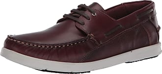 Driver Club USA Mens Made in Brazil Leather Boat Shoe, Wine Nappa/Contrast Stitch, 6.5 UK