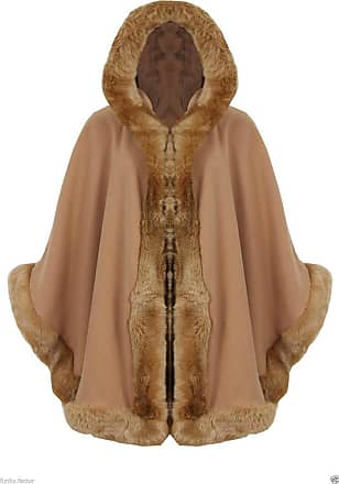 ZEE FASHION Ladies Faux Fur Trim Hooded Capes Ponchos Coat (Camel, One Size)