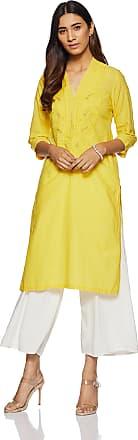 Biba Womens Straight Kurta (CHIKANKA12317_Yellow_34)