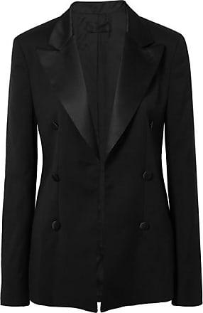 Rta Grayson Silk Satin-trimmed Wool Blazer - Black