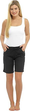 Tom Franks Womens/Ladies Summer Linen Blend Shorts With Pockets & Draw String, Various Colours & Sizes UK16 Black