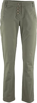 Bonprix Dam Stretchchinos med knappgylf i grön - bpc collection ff2e2fb69e594