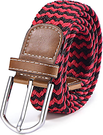 DonDon Braided stretch belt elastic for women and men length 39 to 51 inch - 100 cm to 130 cm black-red