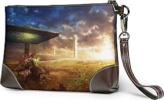 GLGFashion Womens Leather Wristlet Clutch Wallet Cosmic Eye Storage Purse With Strap Zipper Pouch