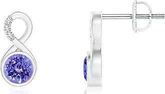 Angara Valentine Day Sale - Bezel-Set Tanzanite Infinity Stud Earrings with Diamonds