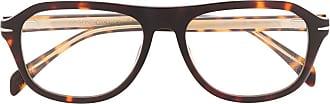 David Beckham Armação de óculos redonda com efeito tartaruga - Marrom