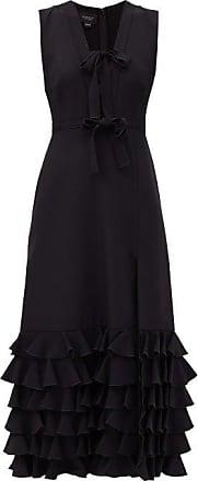 Giambattista Valli Bow-trim Ruffled Crepe Midi Dress - Womens - Black