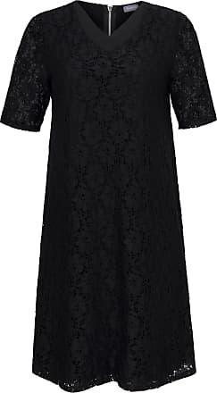 Samoon Kanten jurk met halflange mouwen en V-hals Van Samoon zwart