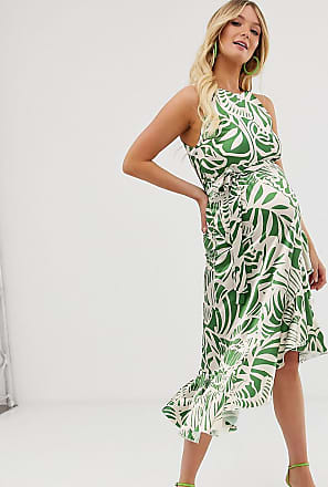 Queen Bee Maternity high neck midaxi dress in green leaf print-Multi
