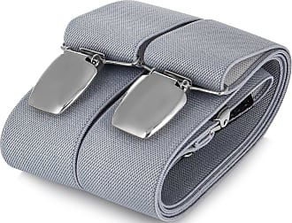 Decalen Mens braces wide adjustable and elastic suspenders Y shape with a very strong clips - Smart Casual Menswear (Grey 1)(Size: One Size)