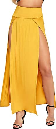 WearAll Womens Double Split Maxi Long Skirt Ladies Plain Basic Two Side Slit - Mustard - 12-14