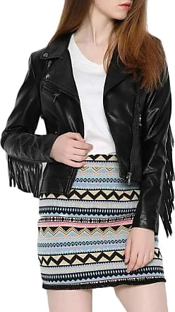 H&E Womens Tassel Faux Leather Coat Lapel Collar Biker Jackets Black L