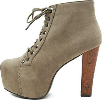 741f0210b37243 Kayla Shoes © Plateau Stiefeletten mit Absatz in Holz Optik (40