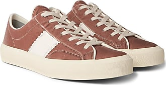 Tom Ford Cambridge Leather-trimmed Velvet Sneakers - Pink