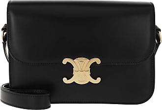 Celine Medium Triomphe Bag Shiny Calfskin Black Umhängetasche schwarz