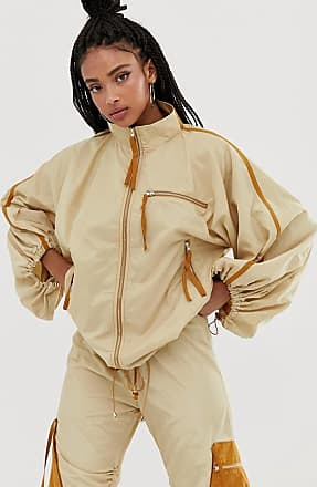 ZYA The Label track jacket with drawstring sleeves co-ord-Beige