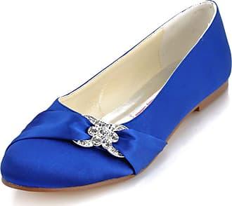 Elegantpark EP2006 Women Wedding Shoes Flat Round Toe Bridal Shoes Rhinestones Satin Wedding Flats Bride Shoes Blue UK 7