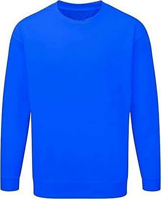 21Fashion Adults Kids Crew Neck Plain Sweatshirt Girls Boys School Office Wear Jumper Top Light Royal Blue X Large
