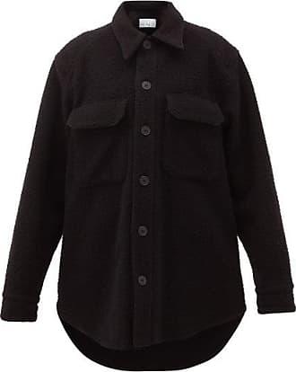 Raey Oversized Chest-pocket Pilled Wool-blend Shacket - Womens - Black