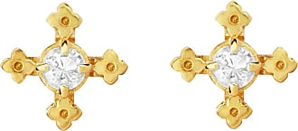 Zoe & Morgan Izil Studs Natural White Zircon Gold - one size | gold plated sterling silver | gold | White - Gold/Gold