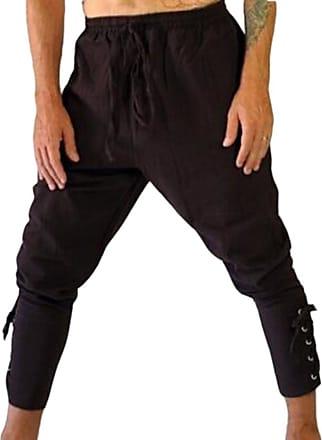 Hellomiko Loose Casual Pants Medieval Trousers Sports Pants Beach Pants Fitness Pants Pirate Pants Retro Trousers Black