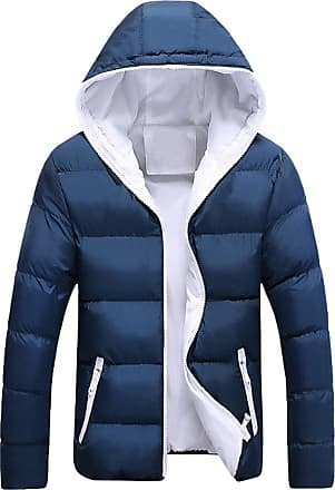 YOUJIA Mens Thicken Warm Puffer Jacket Winter Coat Quilted Zipper Outdoor Slim Fit Parka Jackets with Hood (Blue White, CN 3XL)