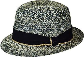 1b3fd4e0cfc66 Bailey Mens Romeo Braided Straw Fedora Trilby Hat, Navy Mix, S